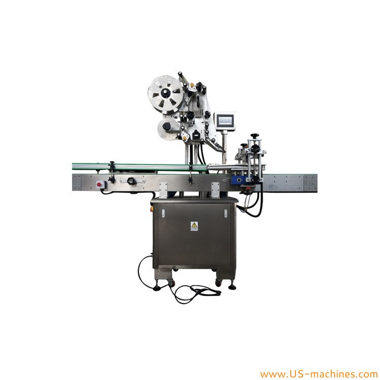 Automatic top flat surface box labeling machine with feeding conveyor