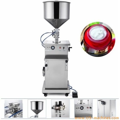 Semi automatic vertical filling machine piston filler equipment stand up type for food cometic flow liquid cream paste juicy bottles jars cans
