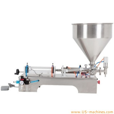 Semi automatic desktop cream filling machine with single nozzle bench filler with loading hopper for food cosmetic pharm liquid