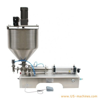 Horizontal type semi-automatic sauce stir mixing filling machine desktop peanut butter mixer filler Honey Stick Cream Yogurt Tomato Paste Products