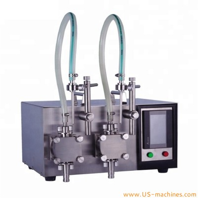 Semi automatic 2 heads gear pump liquid filling machine chemical pharmacy food industrial magnetic pump lab filler equipment with dual nozzles