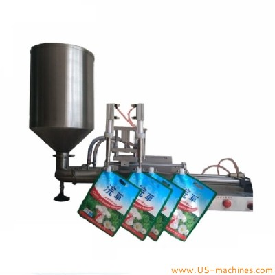 Horizontal pneumatic double heads bag filling machine tabletop 2 nozzles stand up jelly bag pouch liquid food paste cream filler equipment with hopper tank