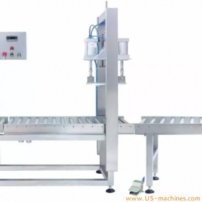 Semi automatic single head weighing filling capping machinery industrial barreled liquid pail drum bucket oil filler capper line