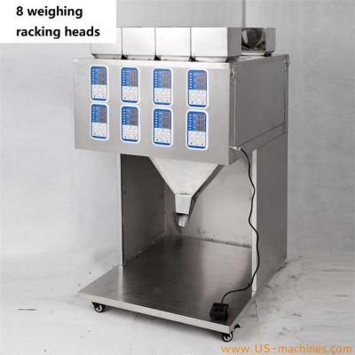 Semi automatic 8 weighing heads racking filling machine micro intelligent computer control quantiative type weighing racking filler for food herb granule tea powder