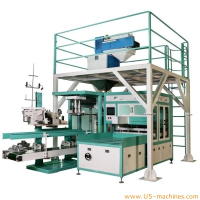 Automatic 20-50kg organic fertilizer wheat flour powder seed weighing filling packaging machine full automatic bean granule weighing scale nut bagging filler line 25kg 50kg weighing filling equipment