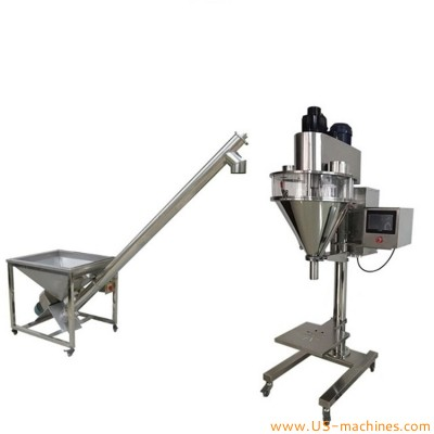 Semi automatic baby powder filling machine goat milk coffee dry spice non-flow milk powder screw auger filler with elevator loading feeding system for bottle can jar food mixer filler