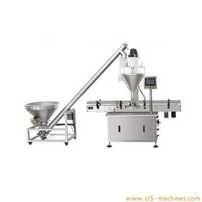 Automatic powder filling machine can bottle jar milk powder flow coffee spices food powder auger filler line with conveyor belt auto fine powder packaging filling equipment
