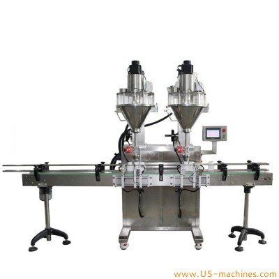 Automatic dual station powder filling machine rice flour protein powder detergent dry chemical powder spice auger filling line for bottle can tin jar packaging filling machine