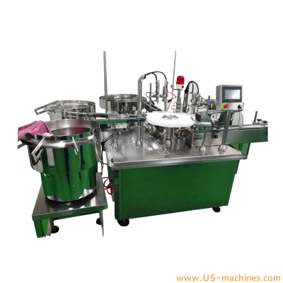 Automatic disposal tube filling capping machine for medical gel pharm gynecology gel double heads tube injection needle filling capping line pharm filler equipment
