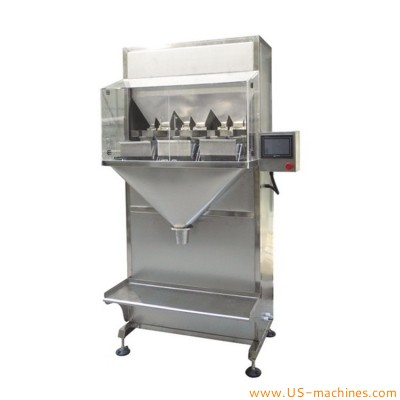 Three weighing heads semi automatic filling machine for food granule particls materials hardware parts PLC control weigher scale filling packaging machinery