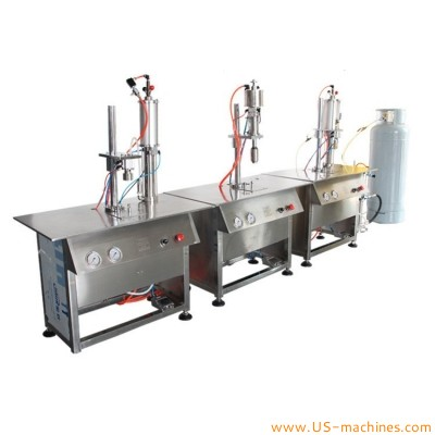 Spray aerosol can bottle liquid gas filling sealing crimping machine semi automatic air fresher mist product volve aerosol filler sealer equipment