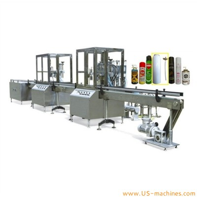 Automatic aerosol can bottle filling capping machine bag on valve cosmetic aerosol spray can gas filling capping packaging line