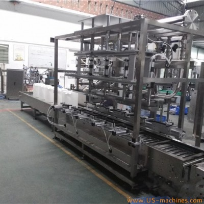 Automatic 5 nozzles engine lubricate oil bucket pail 18-20L weighing filling machine motor oil barrels cans tank weigher filling line with drip-proof heads