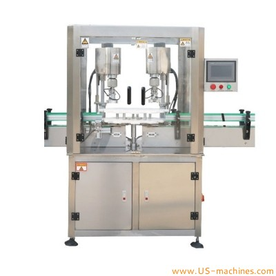 Automatic double heads food jar metal lids capping machine rotary dual magnetic heads bottle can metal cap grapper capper line with cap feeding elevator