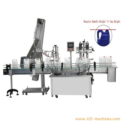 Double heads engine oil detergent square bottle screw capping machine automatic plastic cap drum pail capper line after filling machine