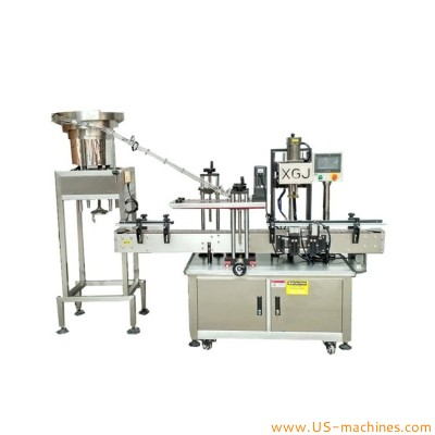 Automatic bottle inline screw capping machine caps sorting feeding vibrating system capper equipment for plastic glass bottle jar