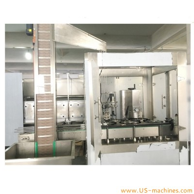 Automatic single heads rotary vacuum capping machine for lug cap glass bottle sealing capping line