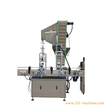Automatic single head bottle cap punch capping with cap sorting feeding elevator cap pressing prelock mechanism
