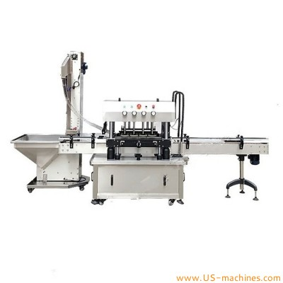 Automatic spindle wheel capping machine high speed inline bottle jar screw capper line with caps lifting elevator feeding machine