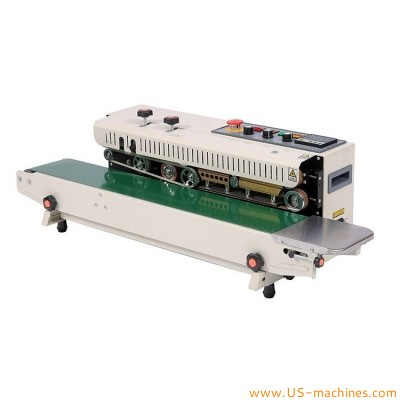Semi automatic horizontal continuous band sealing machine polythene pvc aluminum foil plastic food bag heat sealing machine with coding function