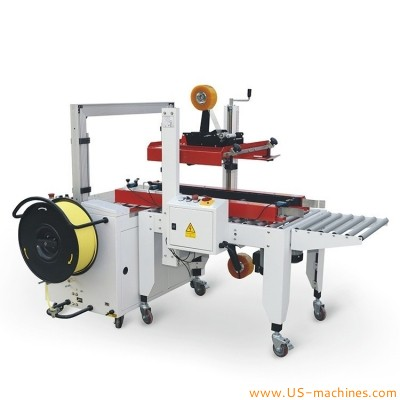 Customized carton box sealing machine integrated with automatic PP strapping sealing machine carton boxes top bottom taping strapping sealer