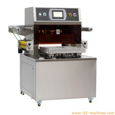 Semi automatic seafood skin type tray box vacuum sealing packaging machine MAP fresh beef meat fish bag tray skin vacuum sealer