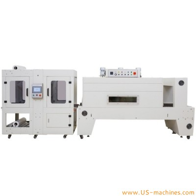 Automatic linear bottle trays sleeve wrapping sealing machine continuous PE film cut heating shrinking packaging machine