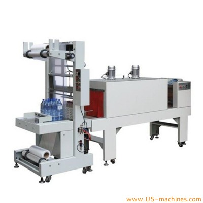 PE film automatic sleeve type inline bulk bottle carton box shrinking wrapping sealing machine