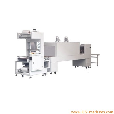 Paper carton box automatic sleeve shrinkable film heating sealing machine clear film cut wrapping packaging line