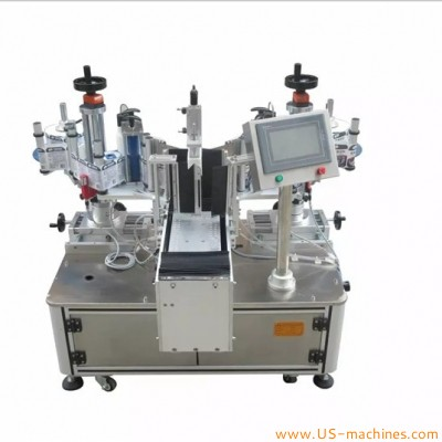 Semi automatic double side lubricate oil bottle drum labeling machine front back flat sticker square bottle oval sides label applicator equipment