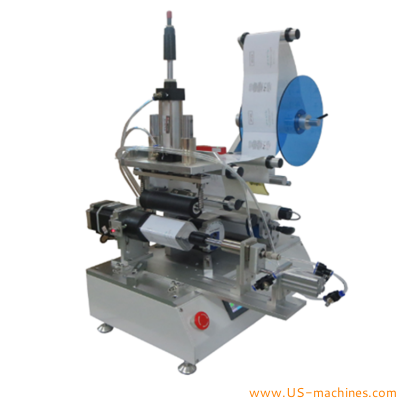 Round square oval plastic bottle flat rolling labeling machine semi automatic single double sticker label applicator with step driven motor