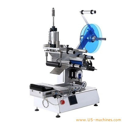 Semi automatic flat object parts carton toy surface labeling machine tabletop plane hardware electronics tools flat stick label applicator