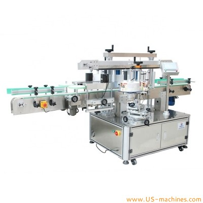 Automatic double side square flat bottle labeling machine front back adhesive sticker transparent opaque label applicator line