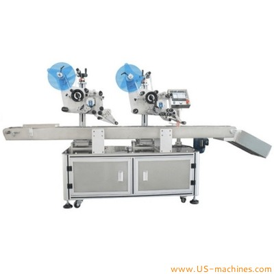 Automatic double heads card paper carton box flat surface labeling machine horizontal cardboard paging plane side label applicator line