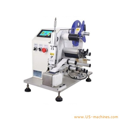 Semi automatic round cable wrie sticker laebling machine cable tube rolling labeling machine tags label applicator