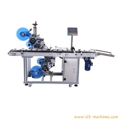 Automatic top bottom bottle jar card double sides labeling machine paper carton box top two adhesive stickers label applicator labeler line
