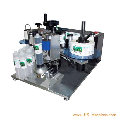 Semi automatic soft tube labeling machine plastic laminated cosmetic tube hose self adhesive sticker label applicator