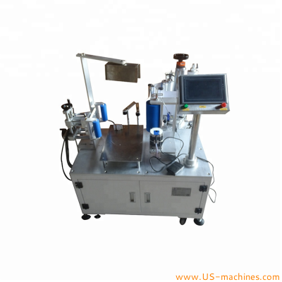Semi automatic bucket pail drum tank bottle labeling machine round bottle wrapping rolling labeling machine for round plastic bucket