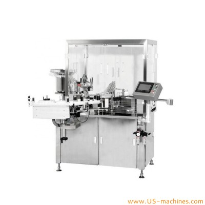 Automatic plastic glass prefilled acid gel syringe labeling machine rotary vertical syringe tube adhesive sticker wrapping labeler applicator