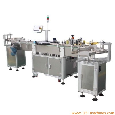 High speed automatic vial ampoule small bottle labeling machine rotary adhesive sticker rolling labeling line for medcine bottles