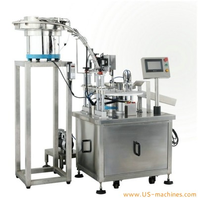 Automatic double station tube vials rotary filling capping machine for liquid oil medicine tube packing line