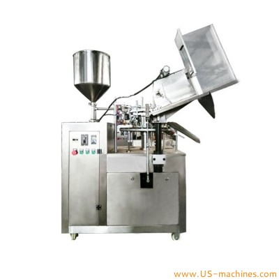 Automatic aluminum tube hose inserting rotary cream paste oil liquid filling folding sealing machine with empty tube loading feeding tank