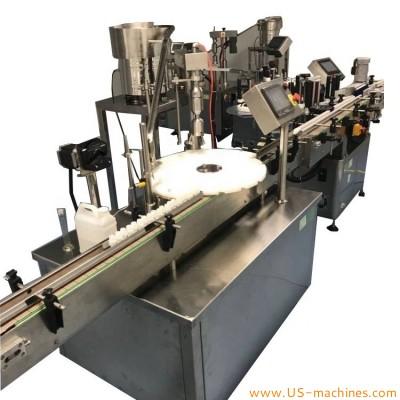 Automatic pharmaceutical liquid rotary single nozzle filling capping machine plastic caps cosmetic perfume filling capper line machine