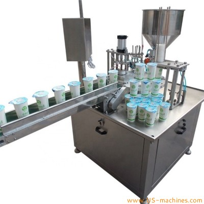Automatic single head rotary honey yogurt jelly cup filling sealing machine water food drink cup filler sealer rotary packing equipment