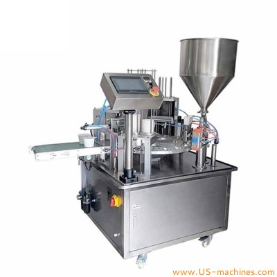Automatic rotary cup filling sealing machine plastic cup juice yogurt honey liquid paste cream filling heat sealing machine