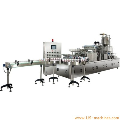 Automatic milk yogurt cup 4 lanes filling sealing machine with cup loader film cutter heat sealer robot hands discharge conveyor