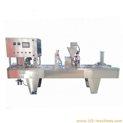 Automatic linear type multi lanes coffee powder capsule filling sealing machine nesspresso K cup capsule chain loading fill seal machine line