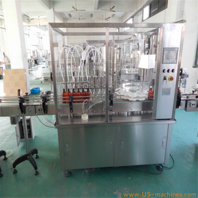 Automatic oral syrup bottle filling capping machine with 6 filler station liquid plastc bottle cap placing filling capping packing customized line
