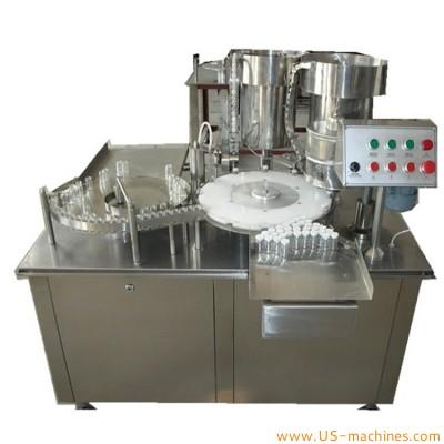 Automatic 3ml medicine vial filling crimping machine single nozzle rotary bottle filler capper pharm packing equipment