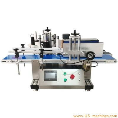 Tabletop round bottle self adhesive labeling machine vertical bottle can tin sticker wrapping labeling machine desktop label applicator